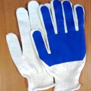 Перчатки х/ б обливные односторонние, синие, цена без НДС