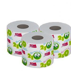 Бумага туалетная на втулке Новинка «Супер» 210 однослойная, цена без НДС.