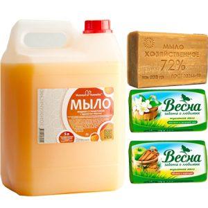 Мыло жидкое, туалетное, хозяйственное, дозаторы для мыла