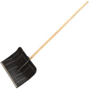 Лопата снеговая пластиковая с планкой и деревянным черенком, 500*375 см.Цена без НДС
